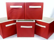 Set of 5 Folding Storage Cubes, 10x10x10 ~ Red Fabric, For Home, School, Office