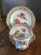 GORGEOUS ANTIQUE HAMMERSLEY DRESDEN SPRAYS FLORAL TRIO CUP SAUCER & SIDE PLATE