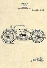 Official 1919 Harley Davidson US Patent Art Print- Ziska Antique Motorcycle 328