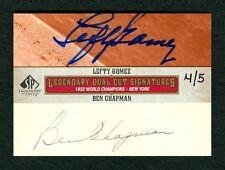 LEFTY GOMEZ & BEN CHAPMAN 2011 SP LEGENDARY CUTS 4/5 DUAL CUT AUTO AUTOGRAPH