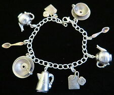 Tea Pot Cup Spoon Charm Bracelet Coffee Kettle 8 Inch Sterling Plate & OMS