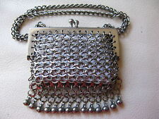 Antique Victorian Silver Fancy Ball Fringe French Doll Chain Mail Mesh Purse #33
