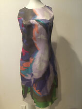 Preowned  ETRO Linen Print Short Sleeve Dress Sz 40!!! SHK