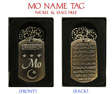 """MO"" Mens Arabic Name Necklace Tag - Birthday Wedding Ayatul Kursi Eid Gifts"