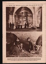 WWI Noël Messe de Minuit Crèche Jesus Eglise de Village France 1919 ILLUSTRATION