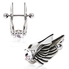 1 (ONE) Surgical Steel Feathered Angel Wings Ear Cuff with Gem Cartilage Earring