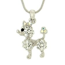 "POODLE W Swarovski Crystal DOG Puppy Pet Clear New Pendant Necklace 18"" Chain"