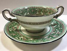 Wedgwood Florentine Green Rim Fruit Center FOOTED CREAM SOUP BOWL & SAUCER
