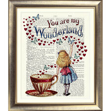 ART PRINT ANTIQUE BOOK PAGE Alice in Wonderland ALICE HEARTS TEACUP DICTIONARY