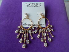 LAUREN Ralph Lauren Authentic NWT Glam Slam Glittering Stone Chandelier Earrings
