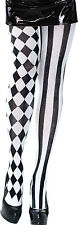 BLACK AND WHITE WOMEN #CIRCUS & CLOWNS HARLEQUIN TIGHTS HALLOWEEN FANCY DRESS