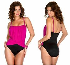 NEW!  MagicSuit By Miraclesuit 12 Jerry Swimsuit One Piece Pink Black Underwire