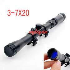 3-7X20 Optic Lens Sniper Reticle Sight Scope Fit 11mm Rail Mount For Rifle Hunt