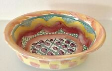 "VINTAGE 1980s MACKENZIE CHILDS ""KEUKENHOF "" Pattern Oval Chowder / serving bowl"
