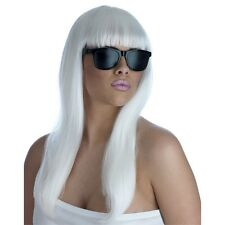 Long White Ladies Pop Diva Wig And Sunglasses - Lady Gaga Style Glasses Fancy