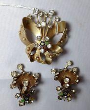Estate Order of the Eastern Star Brooch & Clip Earrings Goldtone & Diamante