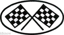 """Racing Checkered Flags (White BG) Embroidered Patch 10cm x 5.5cm (4"""" x 2"""")"""