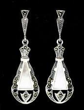 Fine Art Deco Estilo Marcasita Madre de Perla Pendientes de plata esterlina 925
