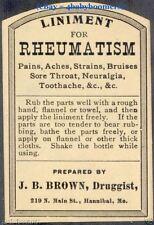 Old 1860's RHEUMATISM Antique JB Brown Pharmacy Drugstore MEDICINE Bottle LABEL
