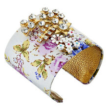 BETSEY JOHNSON 'Vintage Crystal' Flower Fab Fabric Leather Cuff Bracelet $85