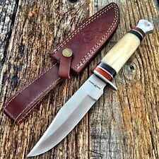 "RED DEER Hunting Camping WHITE BONE 10"" Survival Knife New w/Sheath Military -T"