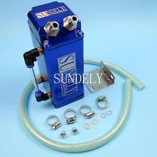 1L Blue Square SUNDELY Billet Aluminum Engine Oil Catch Tank Can Reservoir Hose