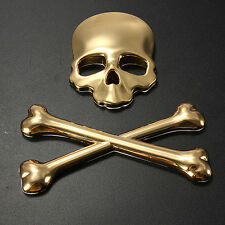 GOLD Car 3D Skull and CrossBones Emblem Badge Logo  Motor Metal Sticker Decal