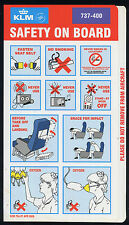 KLM Royal Dutch Boeing B 737 400 SAFETY CARD airline leaflet brochure 06 ee e217