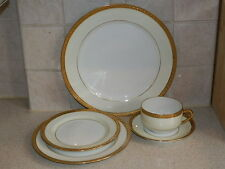 HAVILAND CHINA FRANCE BARONESS 5 PIECE PLACE SETTING GOLD ENCRUSTED