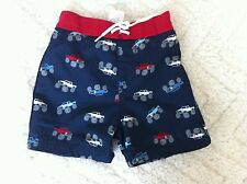 Gymboree 3-6 Months Baby Boys Monster Truck Swim Shorts Red Blue White NWT