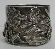 OUTSTANDING AMERICAN STERLING SILVER GEORGE SHIEBLER FLORAL APPLIED NAPKIN RING