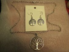 "Tree of Life Pendant on 22"" Necklace w/Matching Earrings Set + Free Shipping"