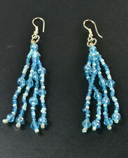 UNIQUE CLEAR BLUE BEADED AZTEC INSPIRED TASSELLED EARRINGS RETRO NEW (ZX7)