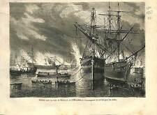 Incendie Conflagration Bateau Streamer Rade Bordeaux ANTIQUE PRINT 1869