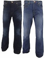 New Mens APT Boot Cut Flared Faded Denim Jeans Dark Wash Blue Waist Size 30 48