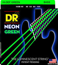 DR NGB-40 NEON HiDef GREEN COATED BASS STRINGS, LIGHT GAUGE 4's-  40-100