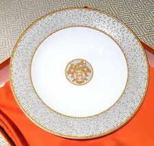 "Authentic Hermes Mosaique Au 24 Large Round Deep Plate 11.6"" Porcelain China NEW"