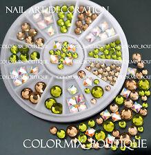 #R46 Nail Art Decoration Green Champagne Square Round Glass Rhinestone+Wheel
