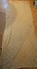 VINTAGE EMBROIDERY AND LACE TABLE CLOTH WITH HOLES USE FOR CRAFT SCRAPS 110X44