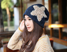 NEW Women Chic Star Thermal Fleece inner Blue Rasta Baggy warm beanie Hat Cap