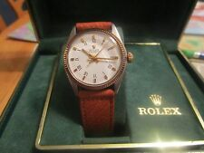 Rolex ladies Mid Size Stainless Steel and 18k Vintage Watch w/ Leather Strap