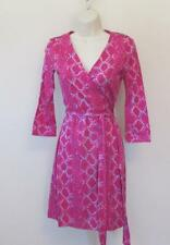 Diane von Furstenberg New Julian two mini Snake Check Pink 6 wrap dress DVF New