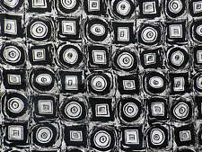 Vintage Rayon Dress Scarf Making Fabric Geometric Black White Pop Art Design
