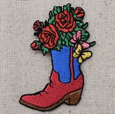 Iron On Embroidered Applique Patch- Western Cowboy Boot Red/Blue Roses Flower