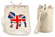 UNION JACK BULLDOG DUFFLE BAG - College Rucksack Gym British Flag Backpack Beach
