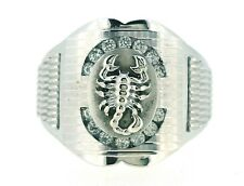 14K WHITE GOLD PLATED REAL SILVER SCORPION MEN'S RING PAVE CZ BAND