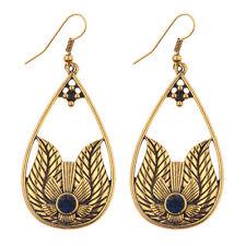Women's Vintage Bohemian Boho Style Black Crystal Gold Pld Flower Drop Earrings