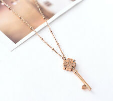 18K Rose Gold GF Four Leaf Clover Heart Key Pendant Long Necklace Sweater Chain