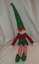"Elf Hand Crafted Croched Christmas Holiday Seasonal Decoration 18"" Tall"