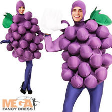 Purple Grapes Adults Fancy Dress Food Fruit Mens Ladies Unisex Costume Outfit